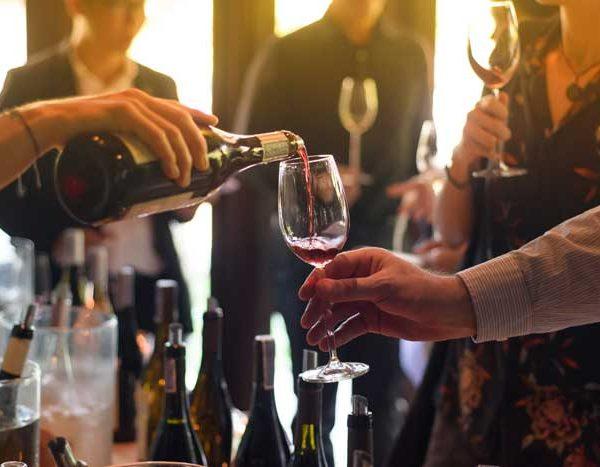 wine club members doing wine tasting event at buda texas winery