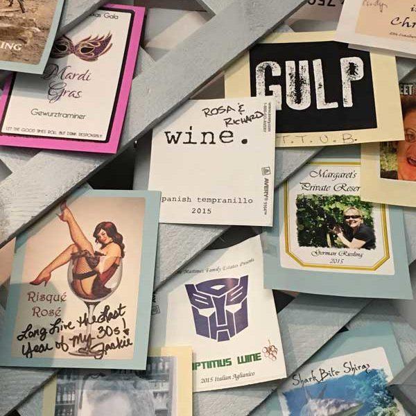 assortment of custom-designed wine labels