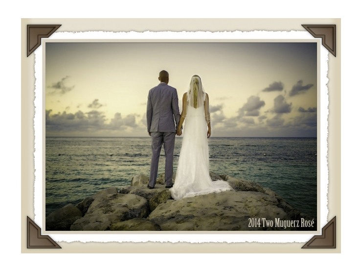 custom wine label of couple on beach for wine thank you gift