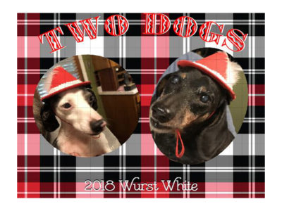 custom made wine label with two dogs for gift