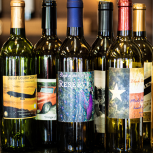bottles of wine with customized labels for gifts from new braunfels winery
