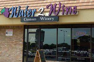 storefront of water 2 wine neighborhood winery austin texas