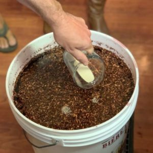 grape must and yeast in fermentation bucket