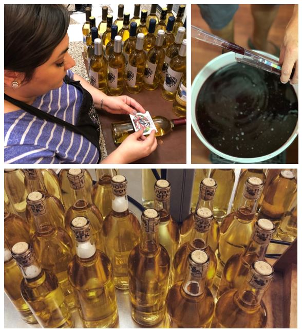 photo collage of wine batch making